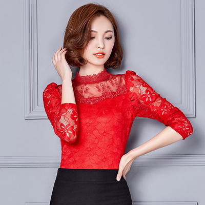 20926950857 Autumn dress lace dozen bottom shirt female sweater big code self- cultivation hundred Lace Shirt