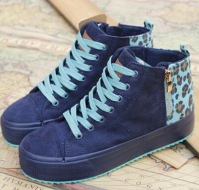 9dc4e7182182 Autumn Korean female models canvas shoes high-top heavy-bottomed platform  shoes leopard fight