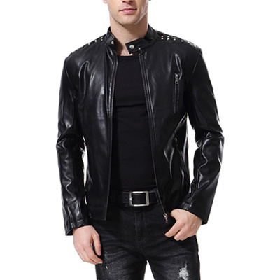 096776603e Autumn New European And American Trend Rivet Decoration Motorcycle Leather  Washed Leather Jacket B00