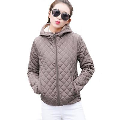 Autumn Parkas Basic Jaket Pendek Wanita Wanita Musim Dingin Hangat Ukuran  Plus Velvet Lamb Hooded Coats 8888a641ce