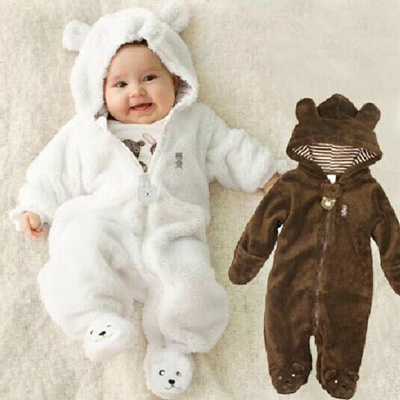 b3842166e Qoo10 - Autumn Winter Baby Rompers Bear Style Baby Coral Fleece ...