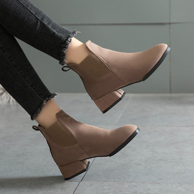 ANKLE BOOTS WINTER SHOES FOR WOMEN BLACK AND CAMEL