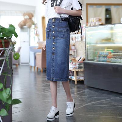 26411d5f020 Autumn winter fashion denim dress skirt overalls Pocket buttons long denim skirt  women