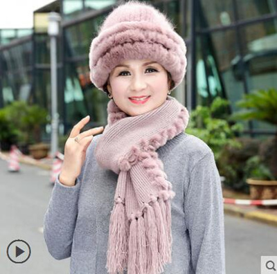 57807badc Autumn/Winter Hat Scarf for Old Lady Hat Kintted Granny Hat Mother Hats  Scarves Mom/Grandma