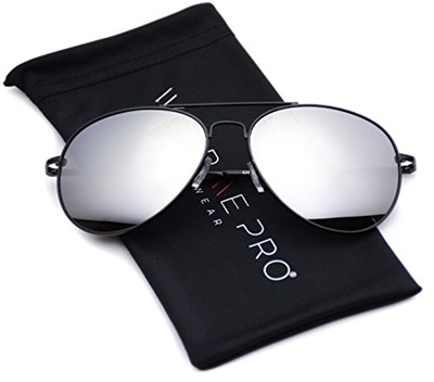 b4152dab5d0 Aviator Full Silver Mirror Metal Frame Sunglasses (Black Frame   Mirror  Silver Lens, 55