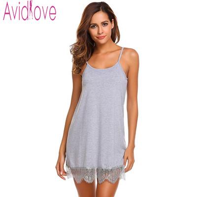 ca8f8e6690 Qoo10 - Avidlove Lady Cotton Nightgown Women Nightwear Nightdress Female  Sleev...   Underwear   Sock.