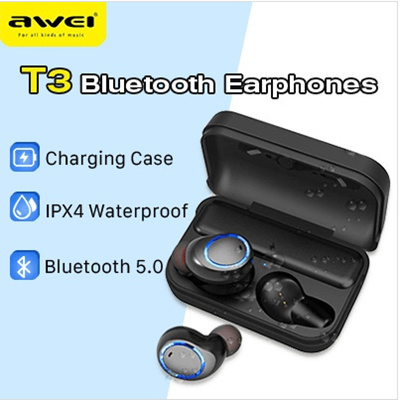 f570a4d15e5 AWEI T3 Bluetooth Earphones / Bluetooth V5.0 / IPX4 Waterproof / Charging  compartment