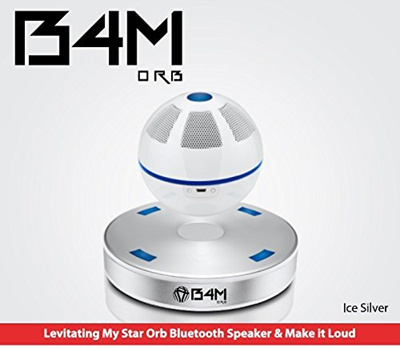 B4M ORB-Ice Silver Portable Wireless Bluetooth 4 1 Floating Sound  Levitating Maglev Speaker (NFC)