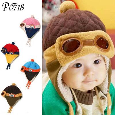 Baby 2018 Winter Warm Cap Hat Infant Boys Girls Pilot Caps Newborn Children  Cotton Cute Hats af72395e0aab
