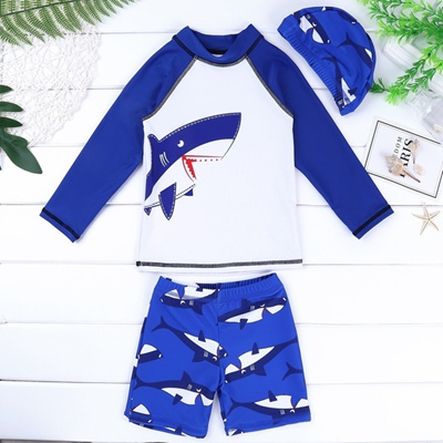 Baby Boys Kids Long Sleeve UV Sun Protection Rash Guards Swimsuit with Hat