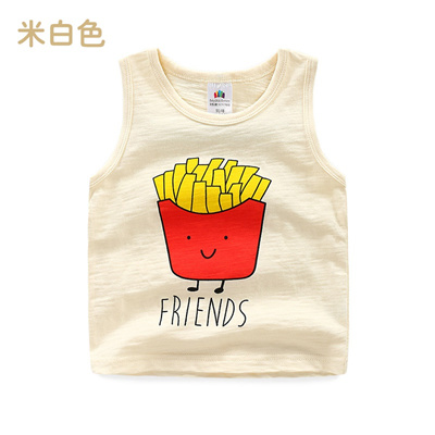 adf5a35ad8a6 Qoo10 - Baby Cartoon work Vest summer new boy children s wear 2018 T-shirt  tx-...   Kids Fashion