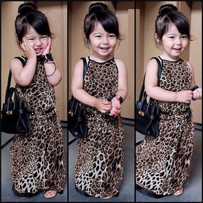 fef06666f8 Qoo10 - Baby Girl Kids Children  s Leopard Print Casual Dress Long Costume...    Women s Clothing