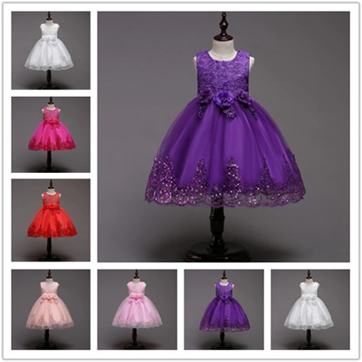 7b57b08c9002 Baby Girls Dress Girls Lace Sequins Formal Evening Wedding Gown Tutu  Princess Dress Flower Girls Par