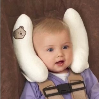 Baby Head Support Car Seat Headrest Adjustable Neck Protection ColourWhitePink