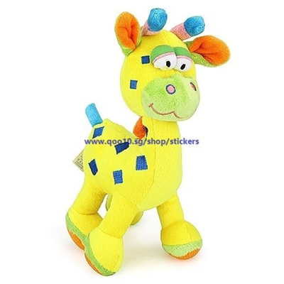 Baby Infant Kid Lovely Animal Giraffe Squeeze Sound Ring Plush Doll Toy
