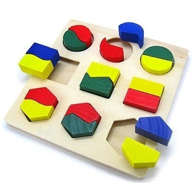 Baby Kids Children Educational Bricks Toypromotion Wooden Toy Building Blocks 9 Shapes Plate