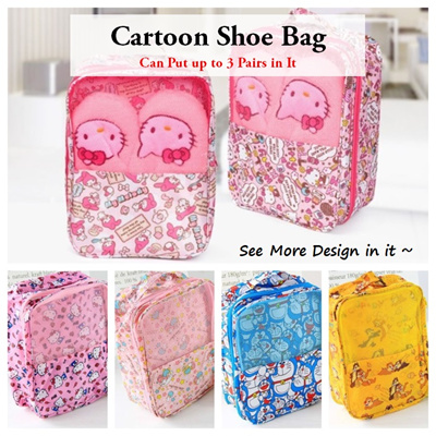 72f4b2dbc701 Shoe Bag 💖 Hello Kitty  Melody  Doraemon  Twin Star Storage Organizer  Travel