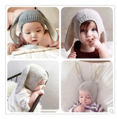 f80e17c3c09 Baby Rabbit Ears Knitted Hat Infant Toddler Winter Cap For Children 0-24  months Girl