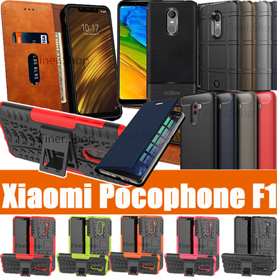 pretty nice 72ec0 a3d03 Back Case for Xiaomi Pocophone F1 3D Full tempered Glass Screen Protector  Flip Leather Cover POCO