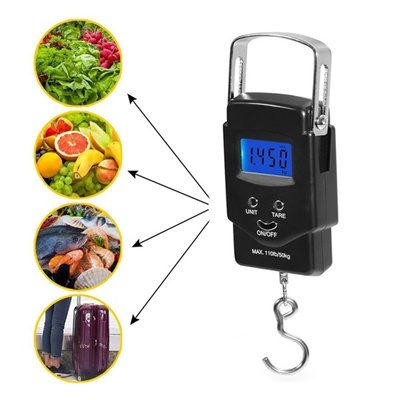 c1fcab9093a7 Backlit LCD Display 110lb/50kg Outdoor Electronic Balance Digital Fishing  Postal Hanging Hook Scale
