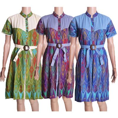 Baju Dress Batik Motif Rang-rang Kombinasi Polos 56dd81f6f6