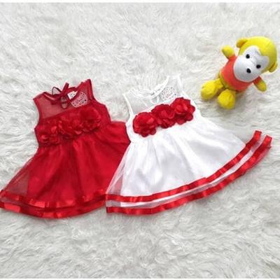 Baju Dress Pesta Kondangan Anak Bayi Perempuan Merah Putih Bunga Murah