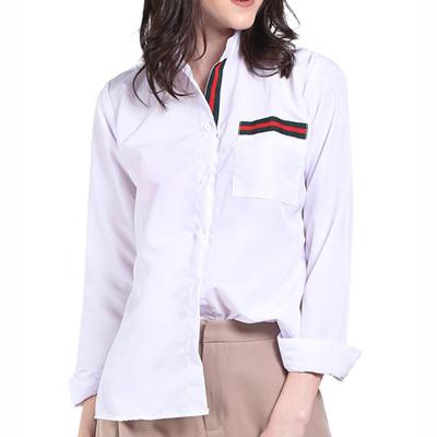 baju kemeja cewek pakaian atasan wanita putih tangan panjang clo338
