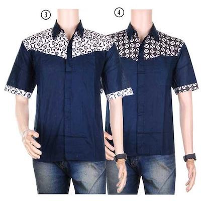 Baju Kemeja Lengan Pendek Hem Motif Batik Kombinasi Polos Tora Size M L Xl