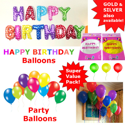 Qoo10 Balloons Happy Birthday Balloons Multicoloured red Gold