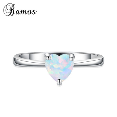 Opal Wedding Band.Bamas Cute 925 Sterling Silver Heart Cut White Fire Opal Wedding Band Ring Women Fashion Jewelry Siz