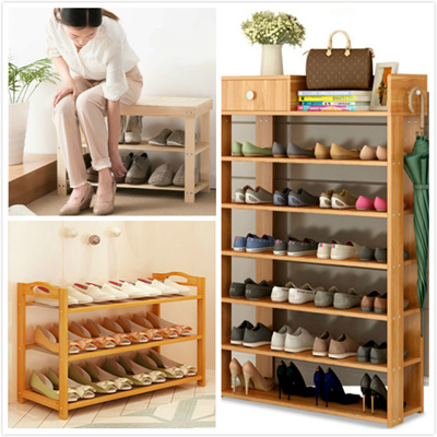 【Bamboo/Pine/Wooden Shoe Rack】Storage Organiser High Heel Boot Shoes Cabinet