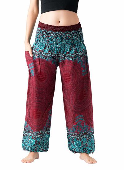 f18407071cfef Bangkokpants Womens Boho Pants Hippie Clothes Yoga Outfits Peacock Design  One Size Fits