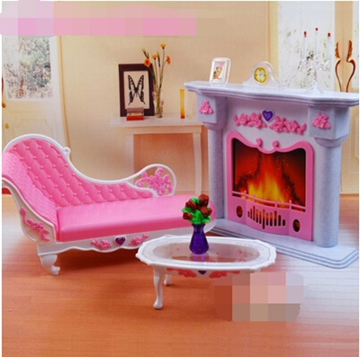 Barbie Doll Accessories And Chic Living Room Furniture Fireplace Bench Play House Toys Diy Kit