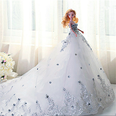 Barbie Wedding Dress.Barbie Wedding Dress Trailing Childrens Day Gift Doll Girlfriends Marriage Ceremony