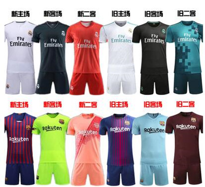 wholesale dealer f8694 12bb4 Barcelona jersey Real Madrid football uniform 17-18 home away short sleeve  suit