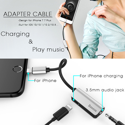 Baseus Audio Cable Adapter For iPhone 7 Earphone Cable For Lightning to  3 5mm Headphone Jack Adapter