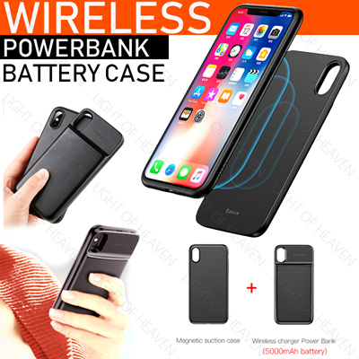 newest 65312 d6326 baseus iphone X battery case wireless powerbank charger casing magnetic 2  in 1 casing cover