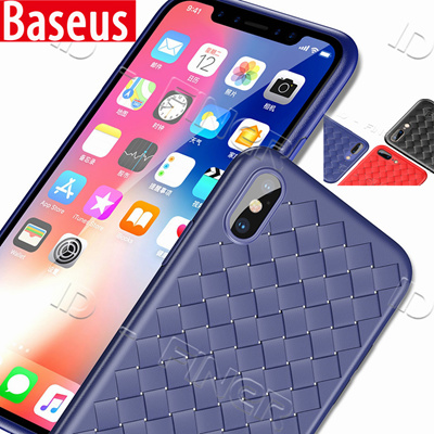 cheap for discount dfce9 2bf73 Baseus Luxury Grid Weaving Case For iPhone X 8 7 8 Plus Cases Ultra Thin  Soft BV Protective Case
