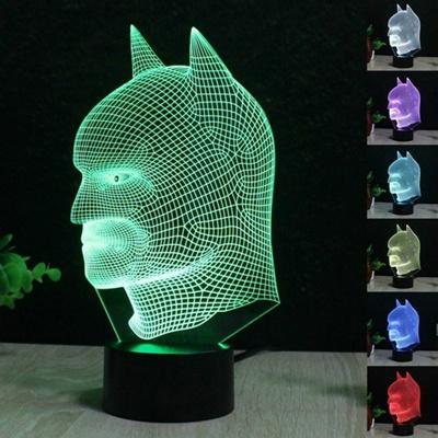 Batman Surperman 3D Acrylic LED Night Light Touch Switch Desk Table Lamp  Party Decorative Light (Col