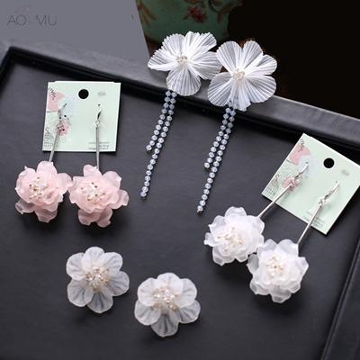 3138aab49 Qoo10 - Beach Vacation Acrylic Big Flower Petal Long Drop Earrings For  Women R... : Watch & Jewelry