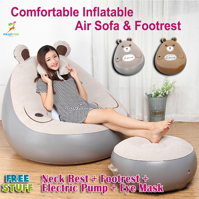 Bear Colorful Air Inflatable Comfortable Sofa Chair With Foot Lounge Stool Free Electric Pump Grey