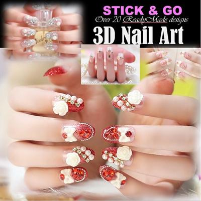 Qoo10 Beautiful 3d Nailart Self Adhesiveglue On Nails On Sale