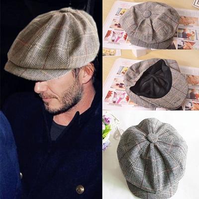 53ac772a Beckham with England striped octagonal Cap newsboy beret Hat men Cap spring  summer woman Korean wave