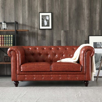 Qoo10 Hugo 2 Seater Chesterfield Sofa Vintage Brown Leather