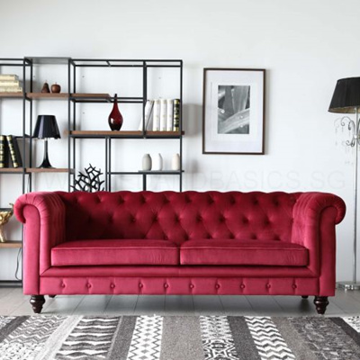 BedandBasicsHugo 3 Seater Chesterfield Sofa - Red Velvet Fabric
