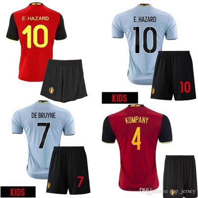 9d423a931 Qoo10 - Belgium Kids eruo Soccer Jersey 2016 E.HAZARD home red away blue  LUKAK...   Sports Equipment