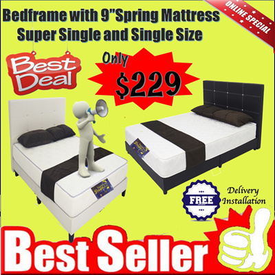 Qoo10 Best Deal Bedframe With 9 Inches Spring Mattresssuper Single And Furniture Deco
