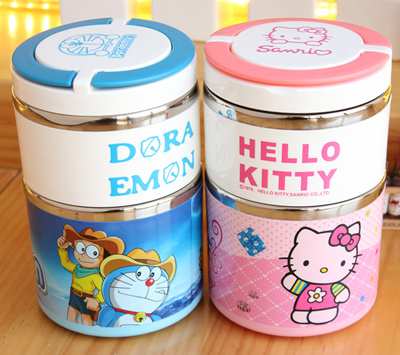 ☆Best Gift☆Hello Kitty/Doraemon/Cute insulated stainless Thermal Lunch Box/
