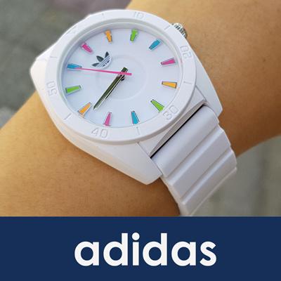 5773b4739a44 Best Original Adidas Santiago ADH2915 White Dial White Silicone Strap  Unisex Watch
