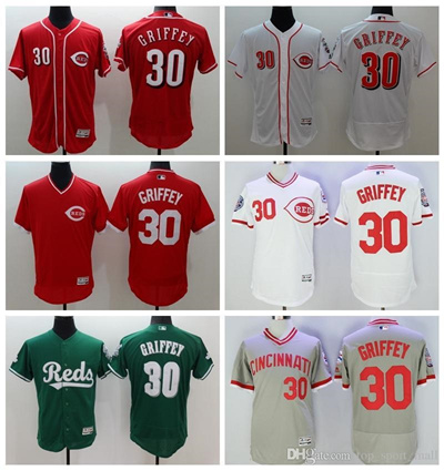 purchase cheap 4bd79 5448e Best Quality 30 Ken Griffey Jr. Jersey Baseball Cincinnati Reds Throwback  Jerseys Flexbase Cool Base
